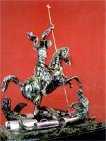 Statue of St. George Slaying the Dragon, by Zurab Tsereteli. The dragon was made of dismantled Russion and American nuclear missiles.